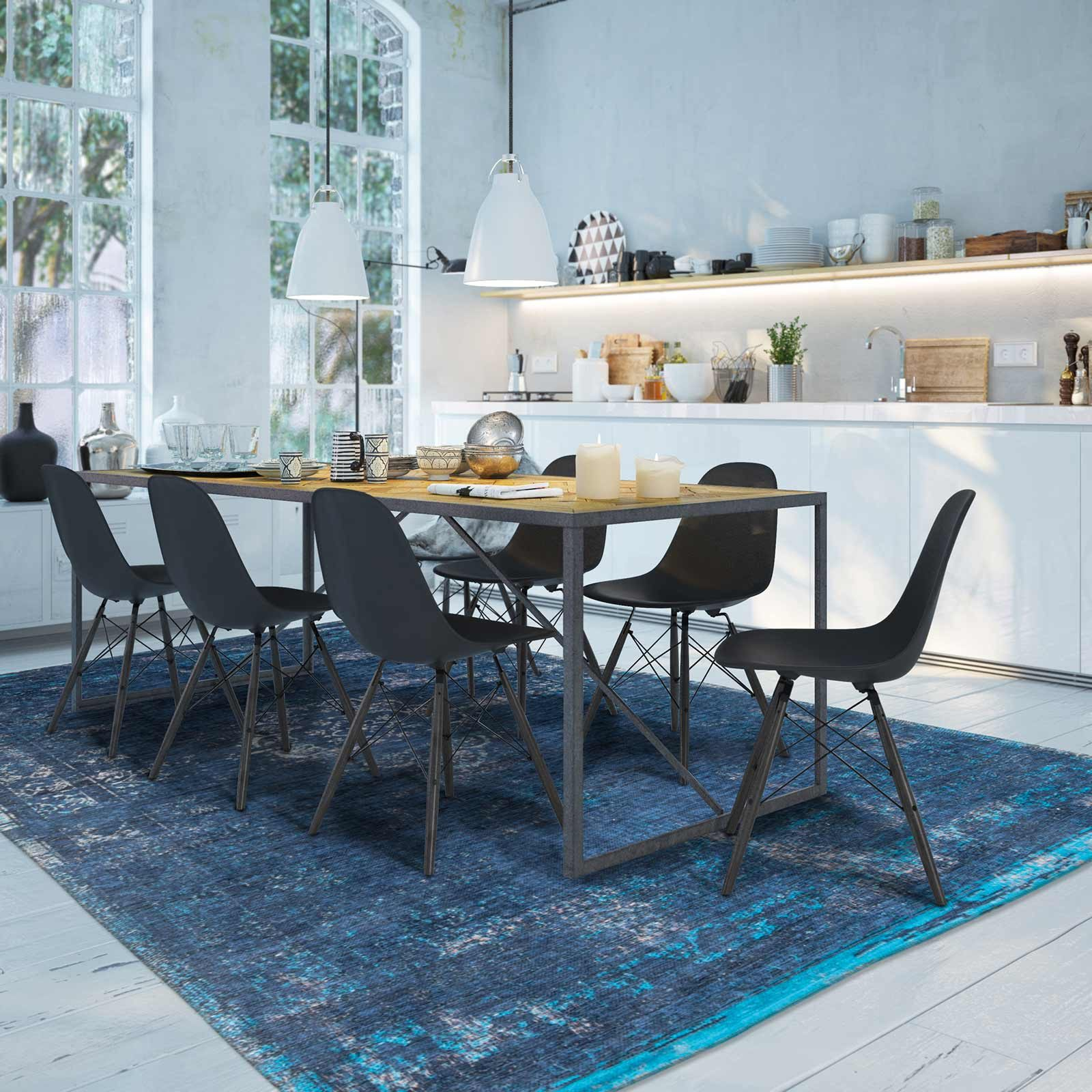 rug Louis De Poortere LX8254 Fading World Medaillon Blue Night interior