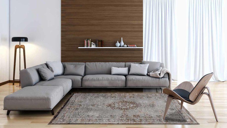 rugs Louis De Poortere LX8257 Fading World Medaillon Grey Ebony interior