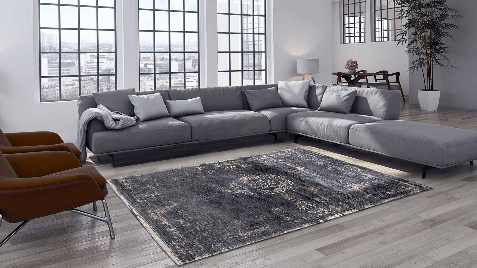 rug Louis De Poortere LX8263 Fading World Medaillon Mineral Black interior