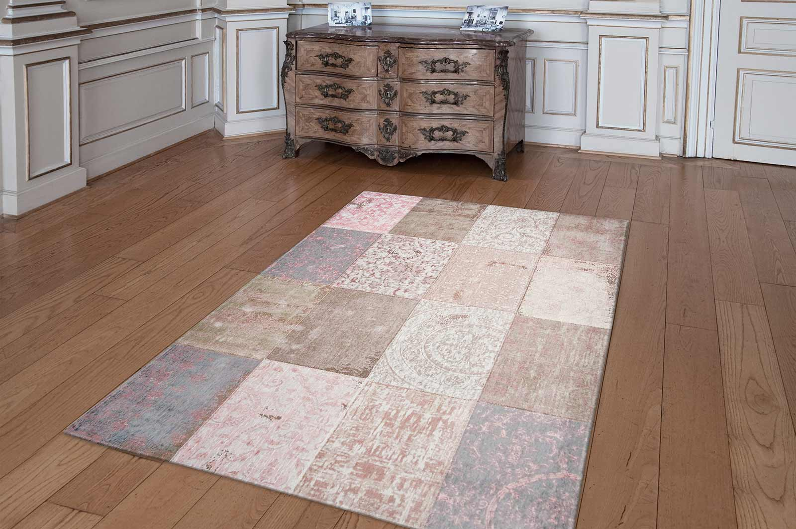 louis de poortere rug cameo bolsho pink 8238 patchwork. Black Bedroom Furniture Sets. Home Design Ideas