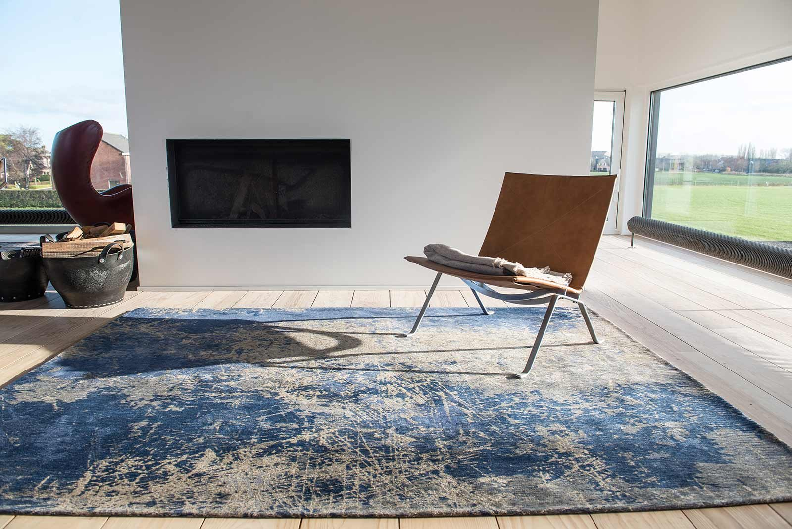 rugs Louis De Poortere LX8629 Mad Men Cracks Abyss Blue interior