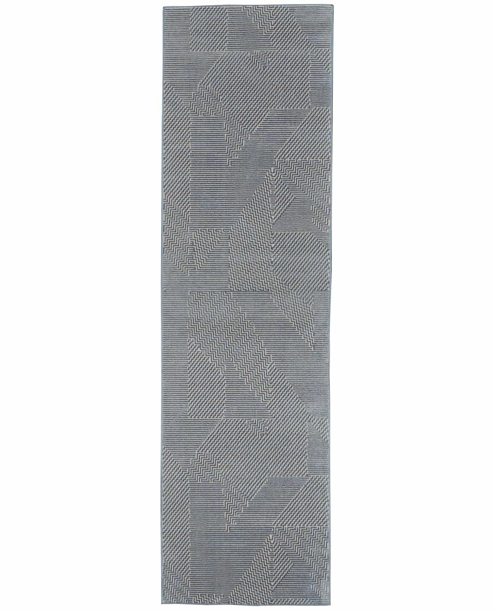 Calvin Klein rug Orlando CK850 CK852 GREY BLUE 2x8 099446488169 flat