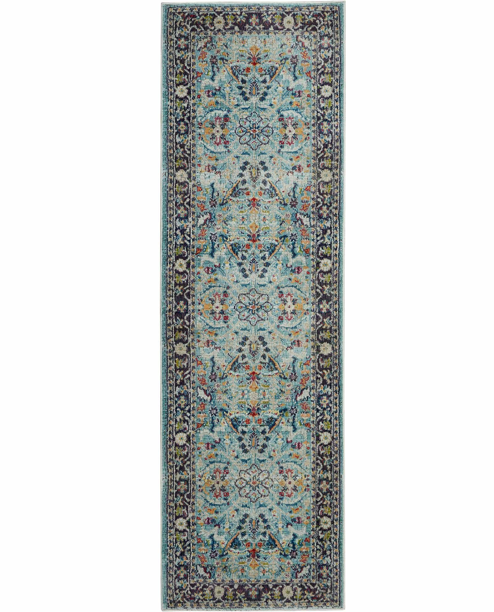 Nourison rug Ankara Global ANR14 TEAL MULTI 2x6 099446498403 flat C