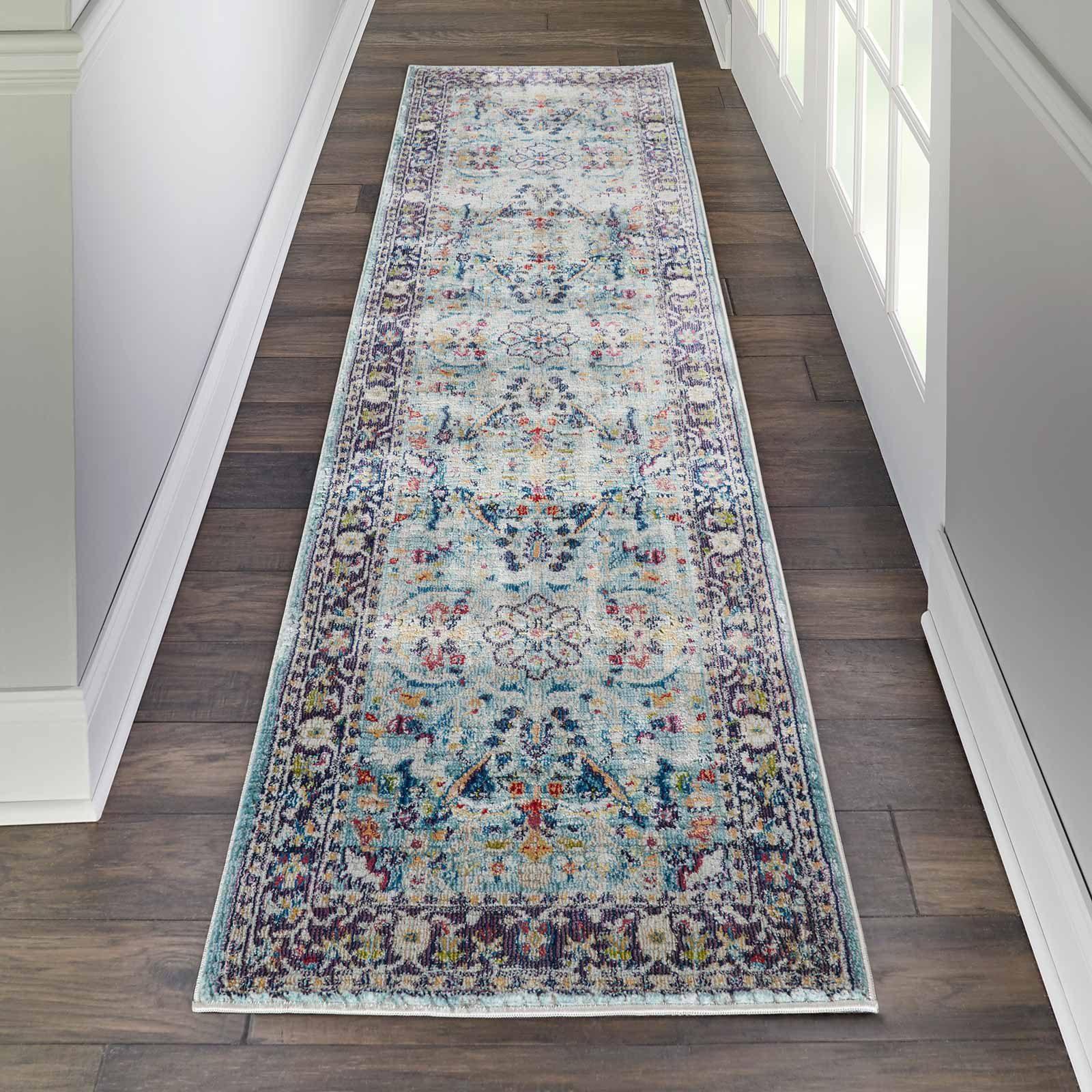 Nourison rug Ankara Global ANR14 TEAL MULTI 2x6 099446498403 interior 1 C