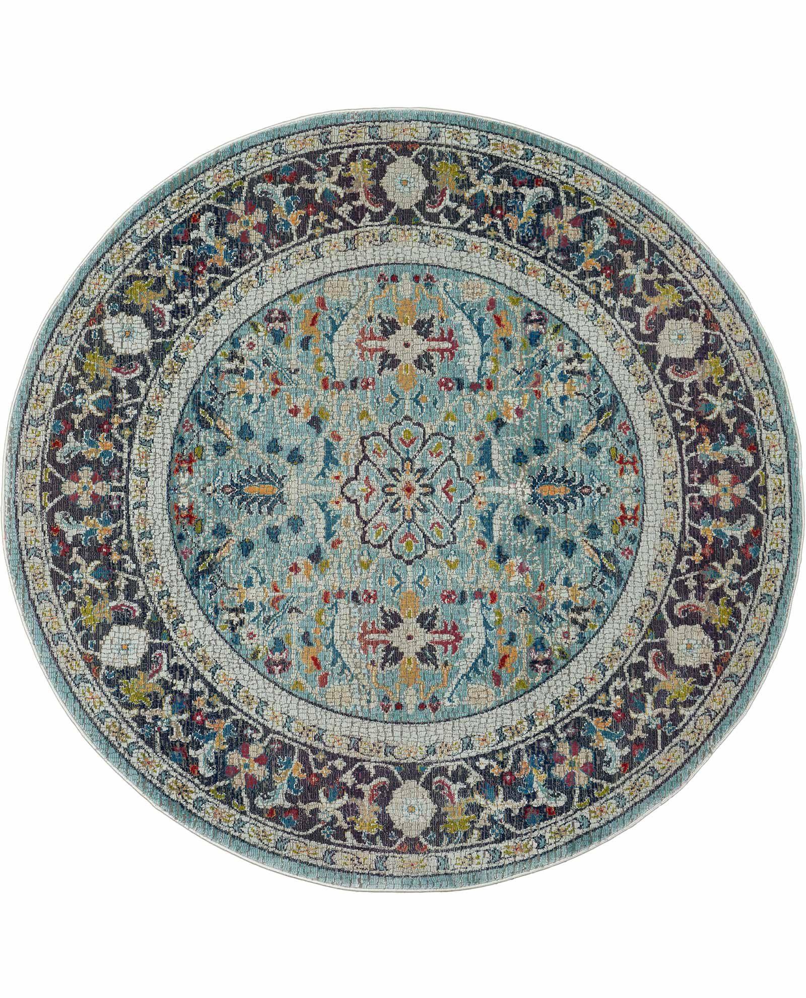 Nourison rug Ankara Global ANR14 TEAL MULTI 4xRND 099446498427 flat C