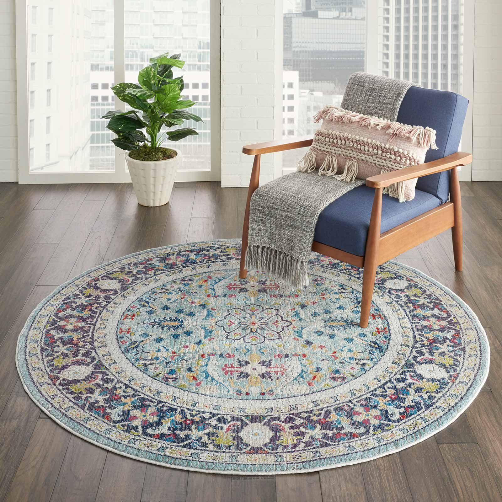 Nourison rug Ankara Global ANR14 TEAL MULTI 4xRND 099446498427 interior 1 C
