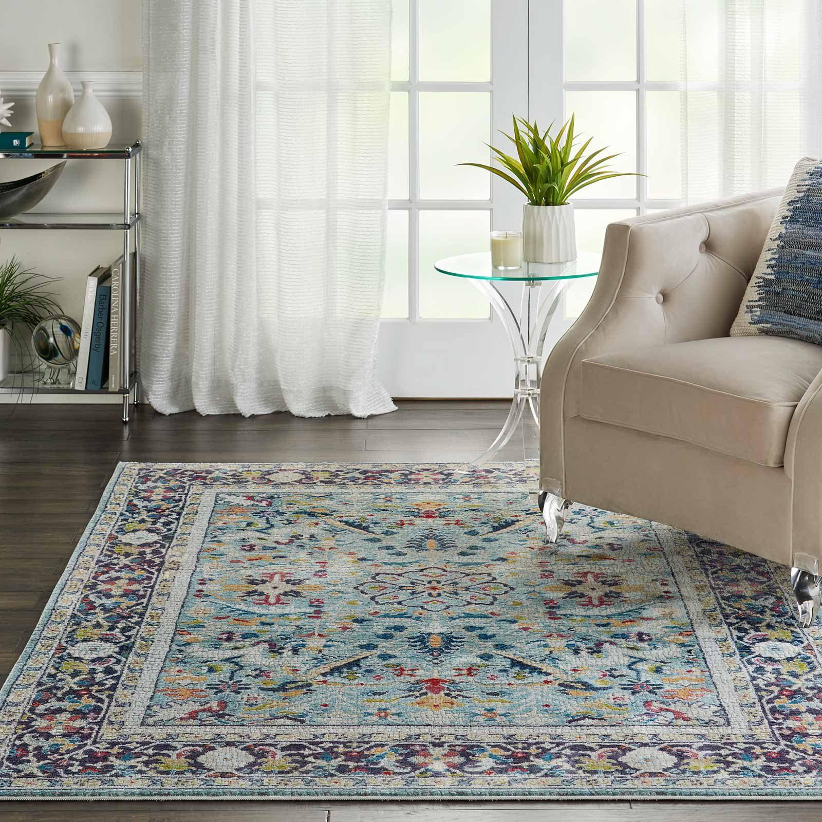 Nourison rug Ankara Global ANR14 TEAL MULTI 5X8 099446498441 interior 1 C