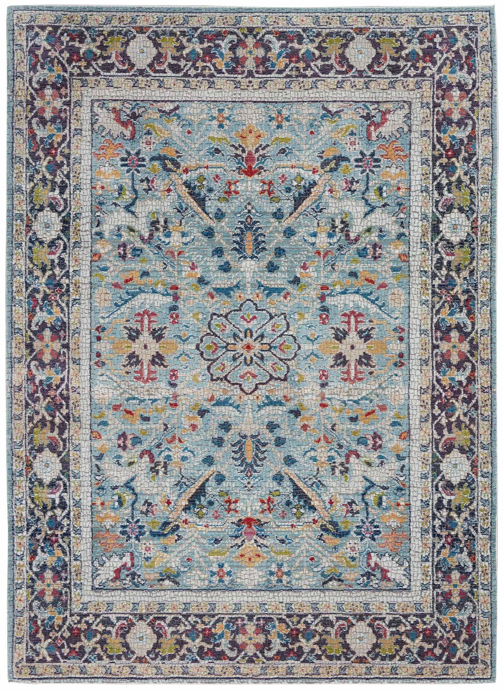 Nourison rug Ankara Global ANR14 TEAL MULTI 5x8 099446498441 flat C