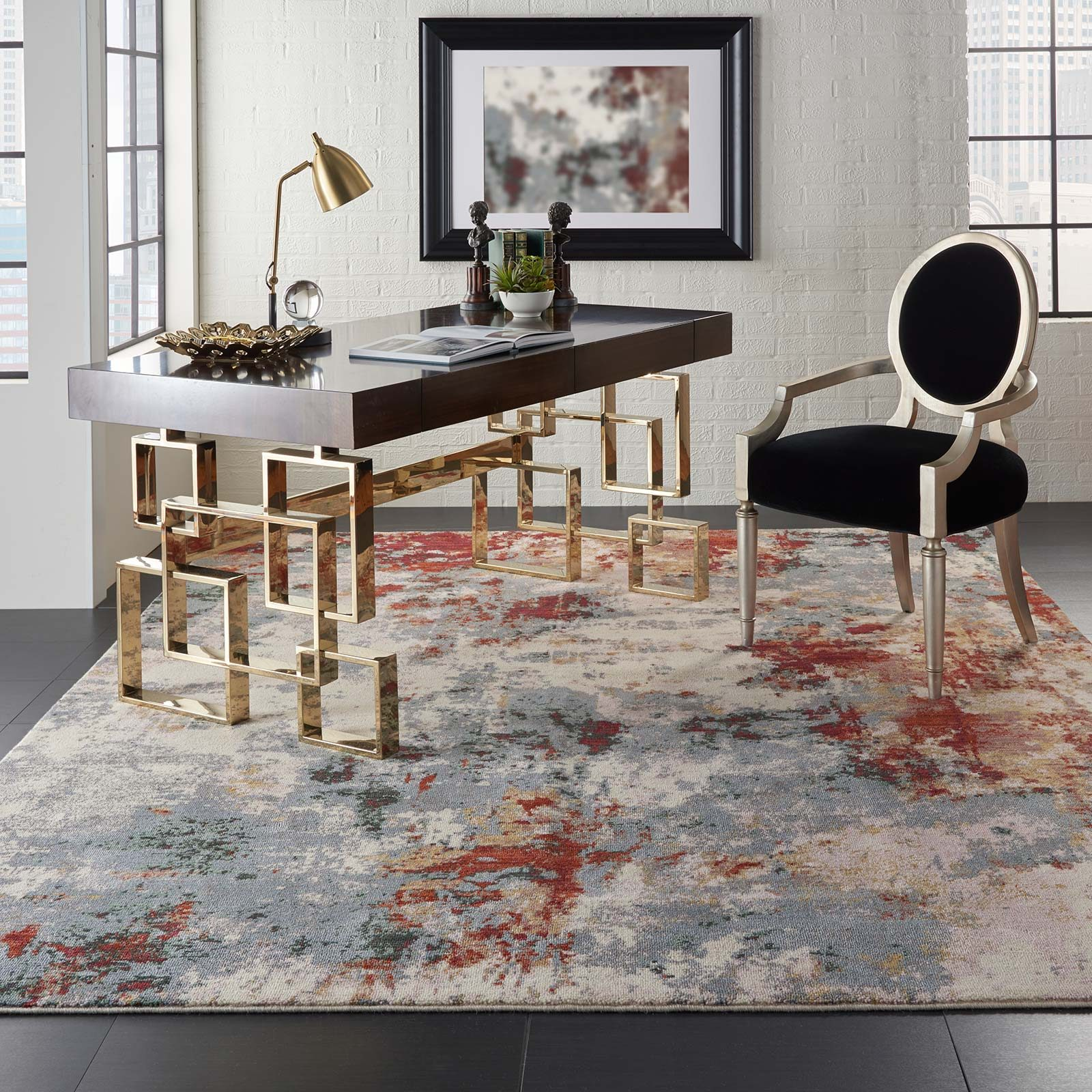 Nourison rug Artworks ATW01 SLTMT SLATE MULTI 8X10 099446709103 interior 1 C