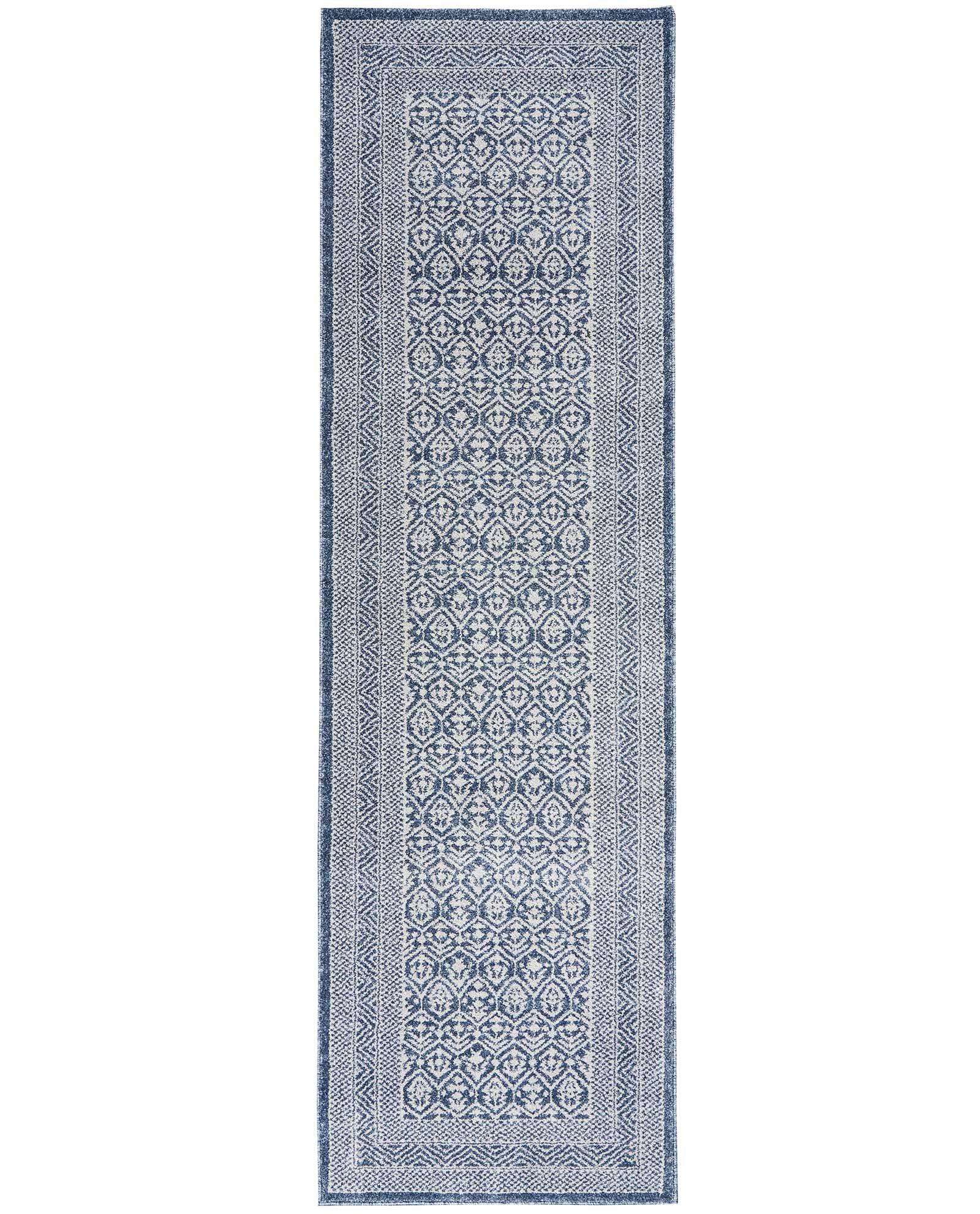 Nourison rug Palermo PMR01 BLUE GREY 2x8 099446719584 flat C