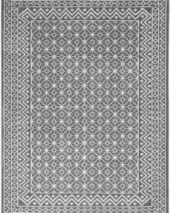 Nourison rug Palermo PMR02 CHARCOAL SILVER 5x7 099446719768 flat C
