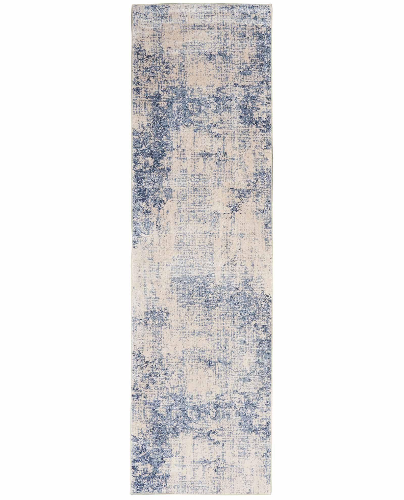 Nourison rug Silky Textures SLY01 IVORY BLUE 2x8 099446709653 flat