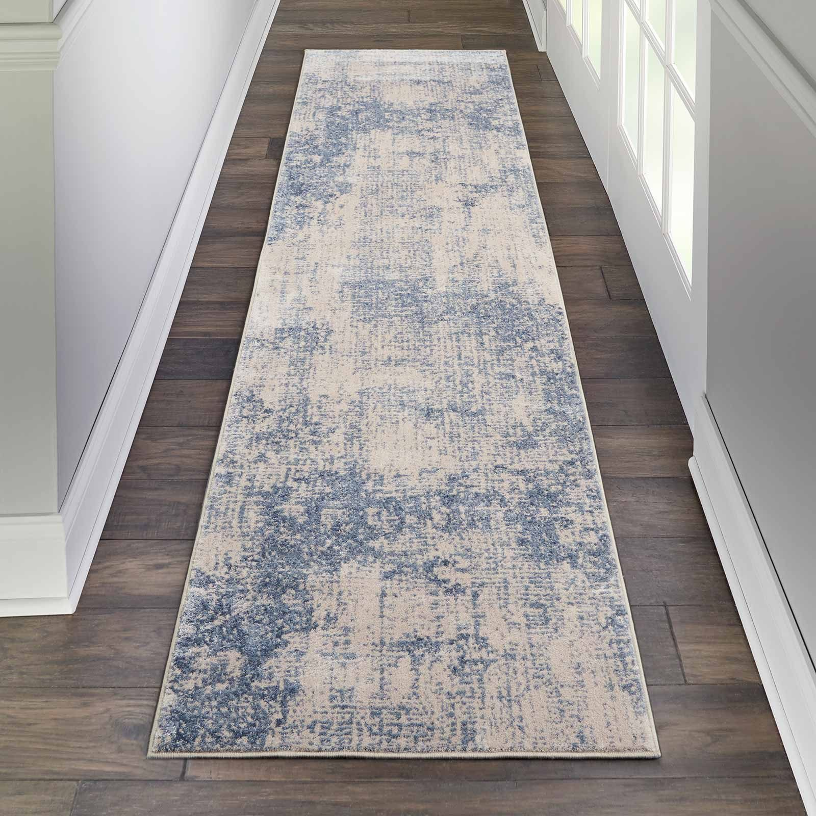 Nourison rug Silky Textures SLY01 IVORY BLUE 2x8 099446709653 interior 1