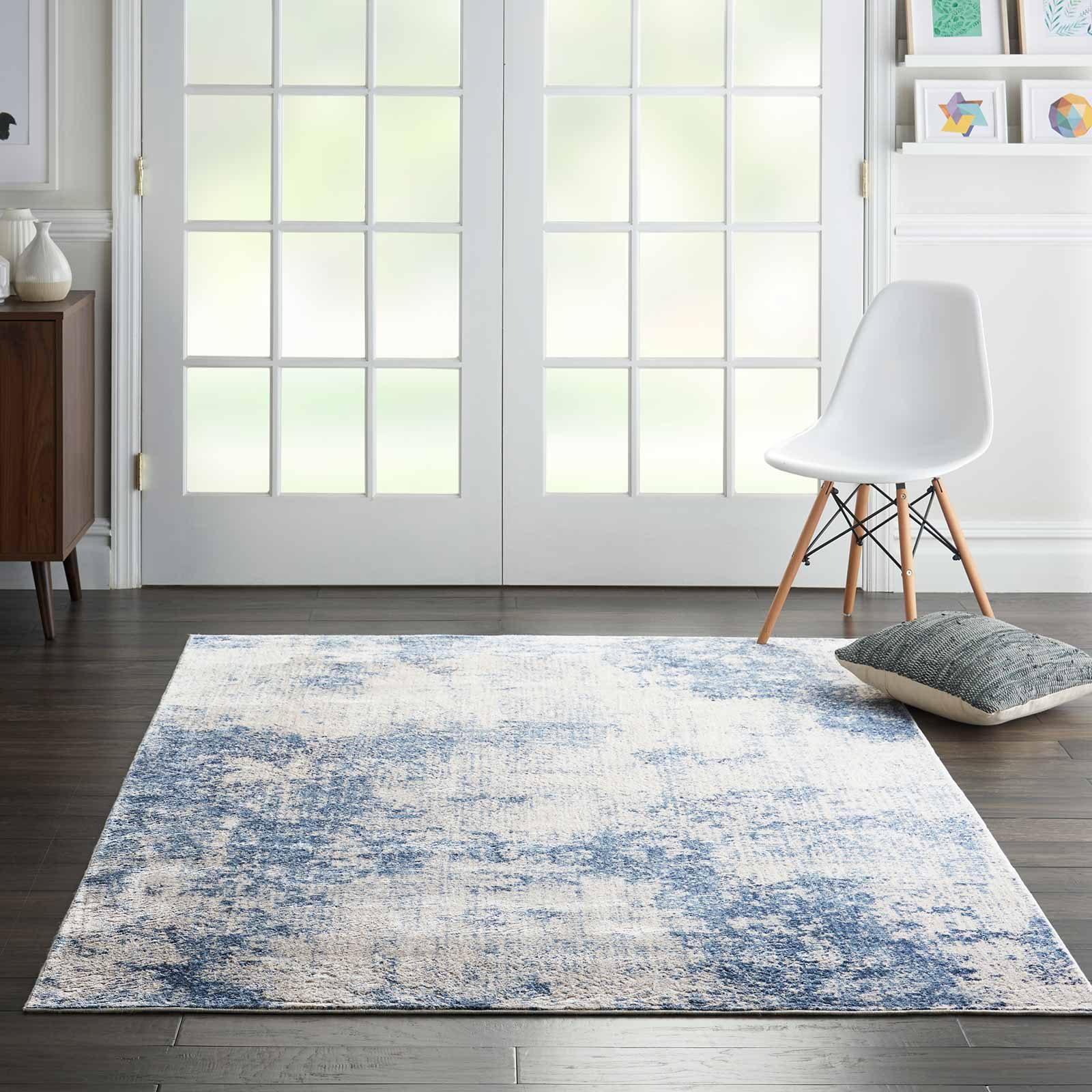 Nourison rug Silky Textures SLY01 IVORY BLUE 4x6 099446709677 interior 1 C