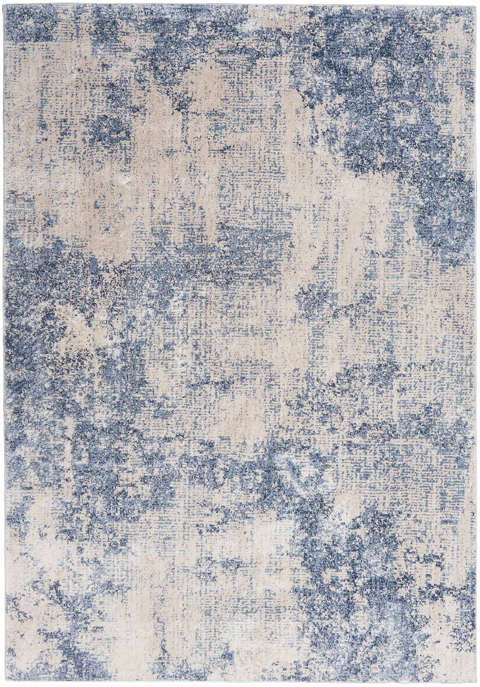 Nourison rug Silky Textures SLY01 IVORY BLUE 5x7 099446709684 flat C