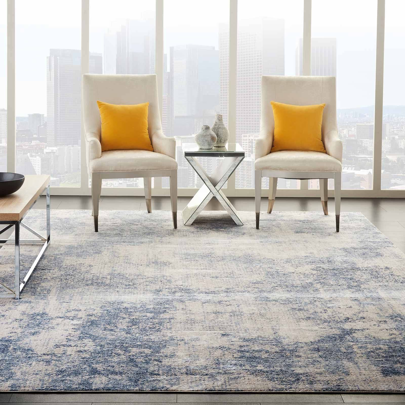 Nourison rug Silky Textures SLY01 IVORY BLUE 9x13 099446709752 interior 1