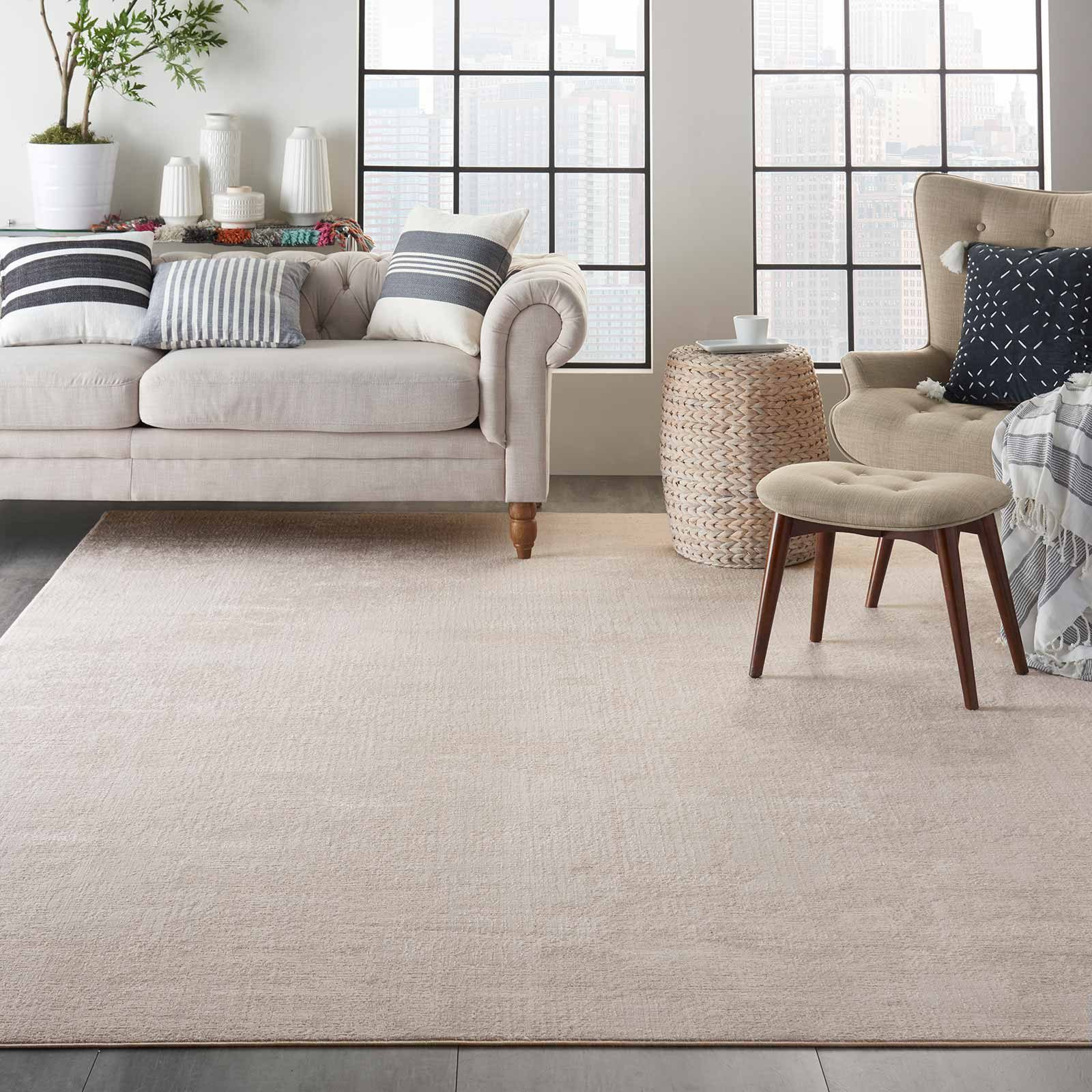 Nourison rug Silky Textures SLY01 IVORY GREY 9x13 099446709776 interior 1