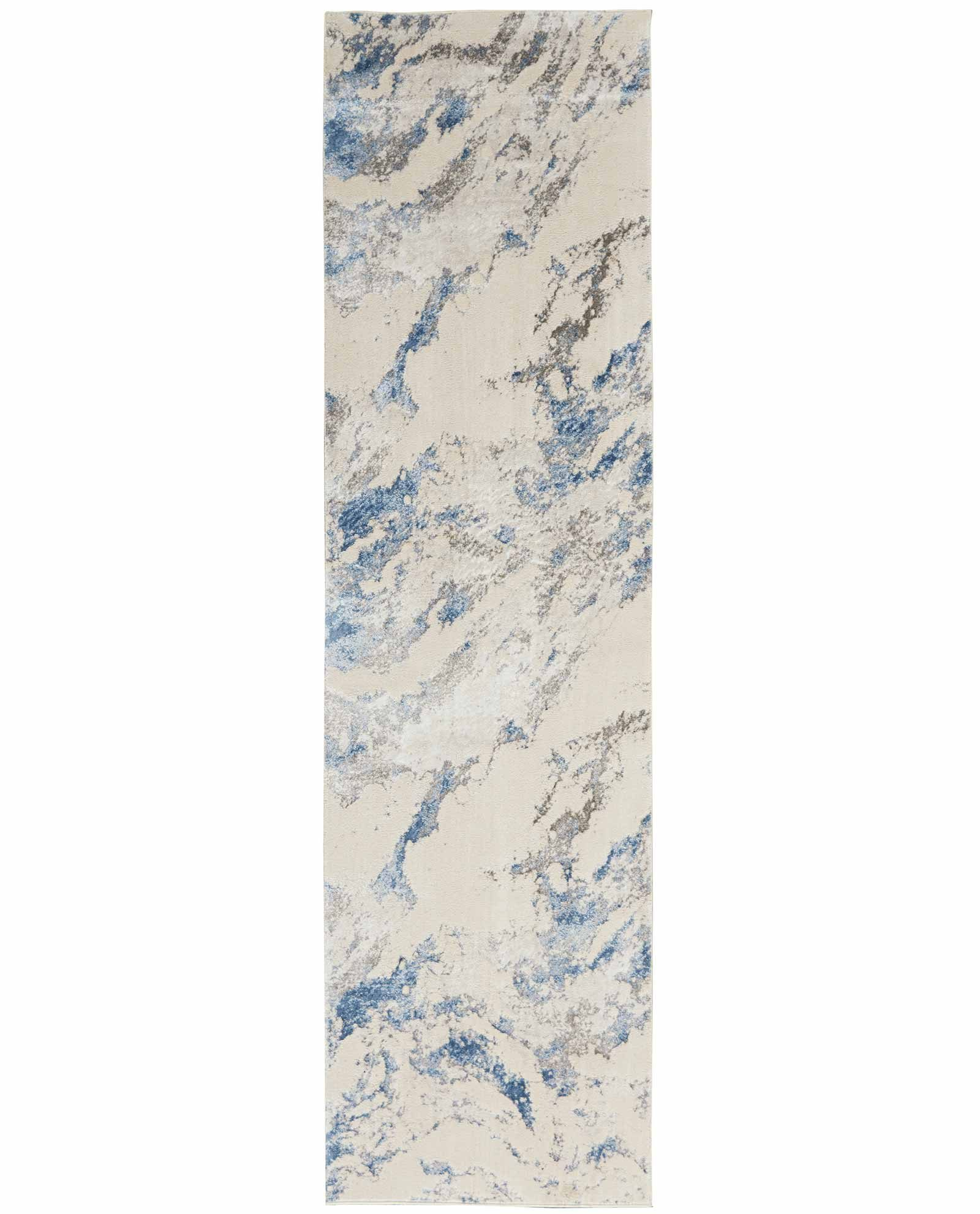 Nourison rug Silky Textures SLY03 BLUE IVORY GREY 2x8 099446710031 flat