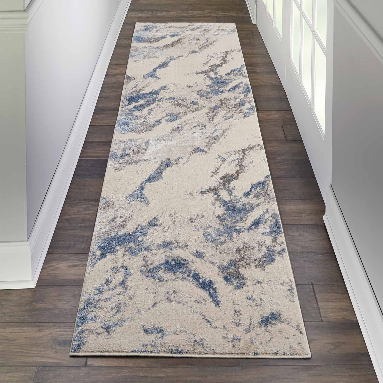 Nourison rug Silky Textures SLY03 BLUE IVORY GREY 2x8 099446710031 interior 1
