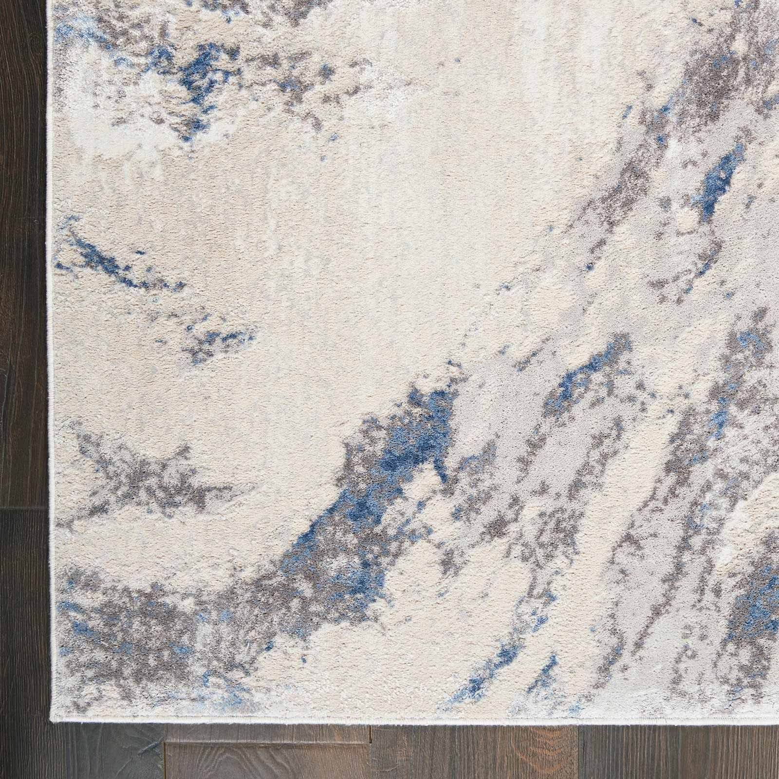 Nourison rug Silky Textures SLY03 BLUE IVORY GREY 5x7 099446710086 CR C