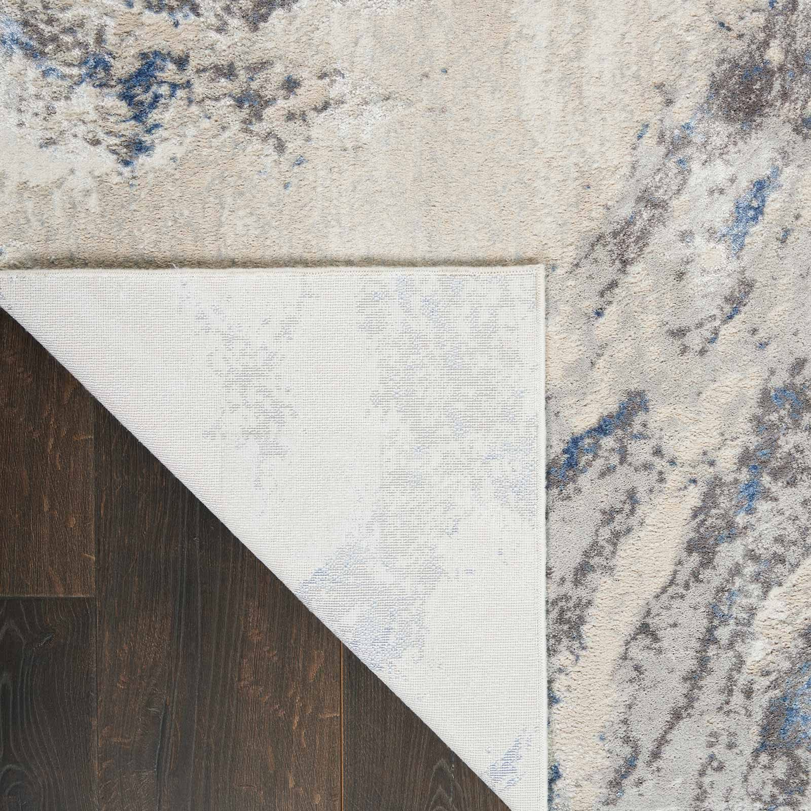 Nourison rug Silky Textures SLY03 BLUE IVORY GREY 5x7 099446710086 CRB C