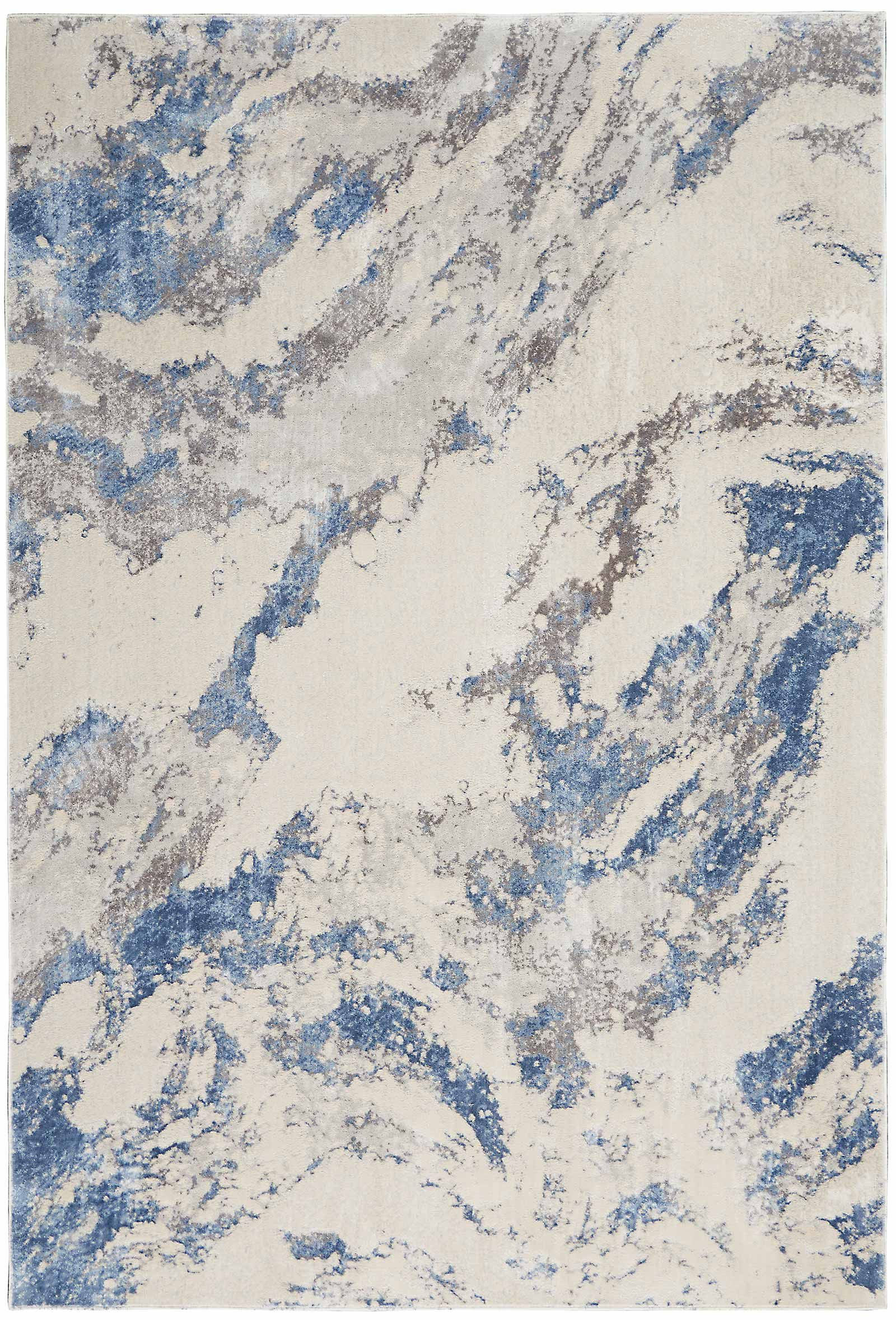 Nourison rug Silky Textures SLY03 BLUE IVORY GREY 5x7 099446710086 flat C