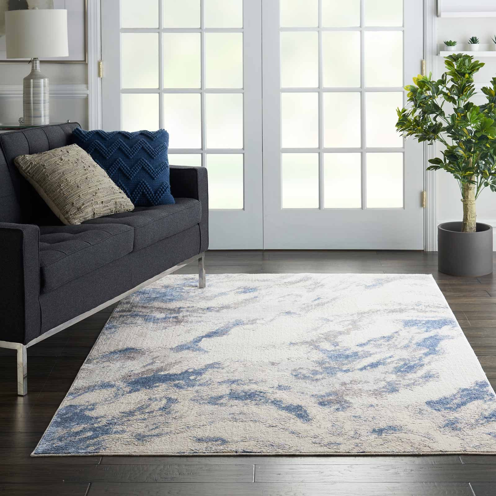 Nourison rug Silky Textures SLY03 BLUE IVORY GREY 5x7 099446710086 interior 1 C