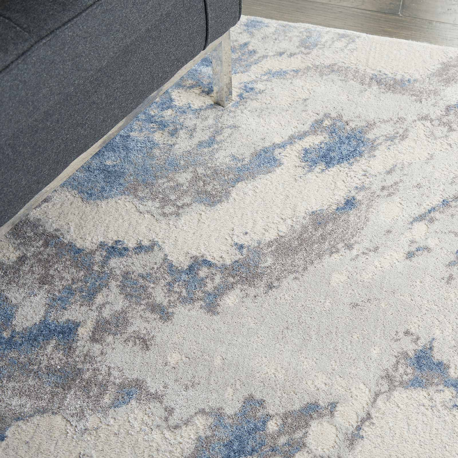 Nourison rug Silky Textures SLY03 BLUE IVORY GREY 5x7 099446710086 interior 2 C