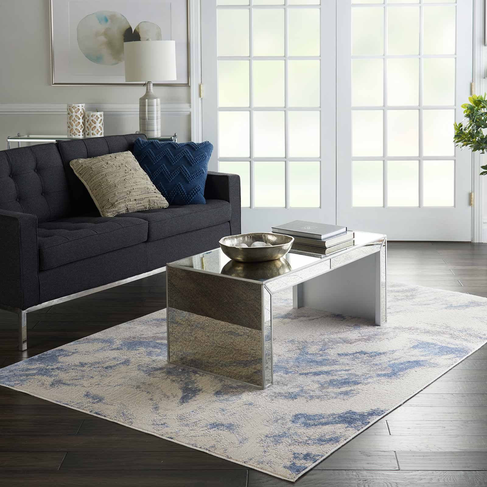 Nourison rug Silky Textures SLY03 BLUE IVORY GREY 5x7 099446710086 interior 4 C
