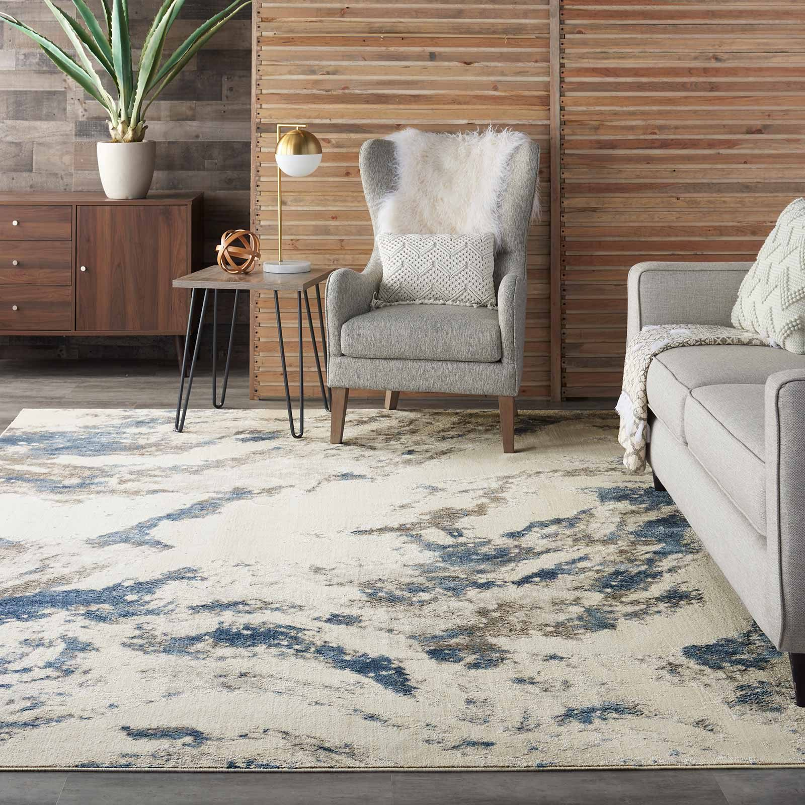 Nourison rug Silky Textures SLY03 BLUE IVORY GREY 8x11 099446710109 interior 1