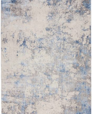 Nourison rug Silky Textures SLY04 BLUE IVORY GREY 5x7 099446710178 flat C