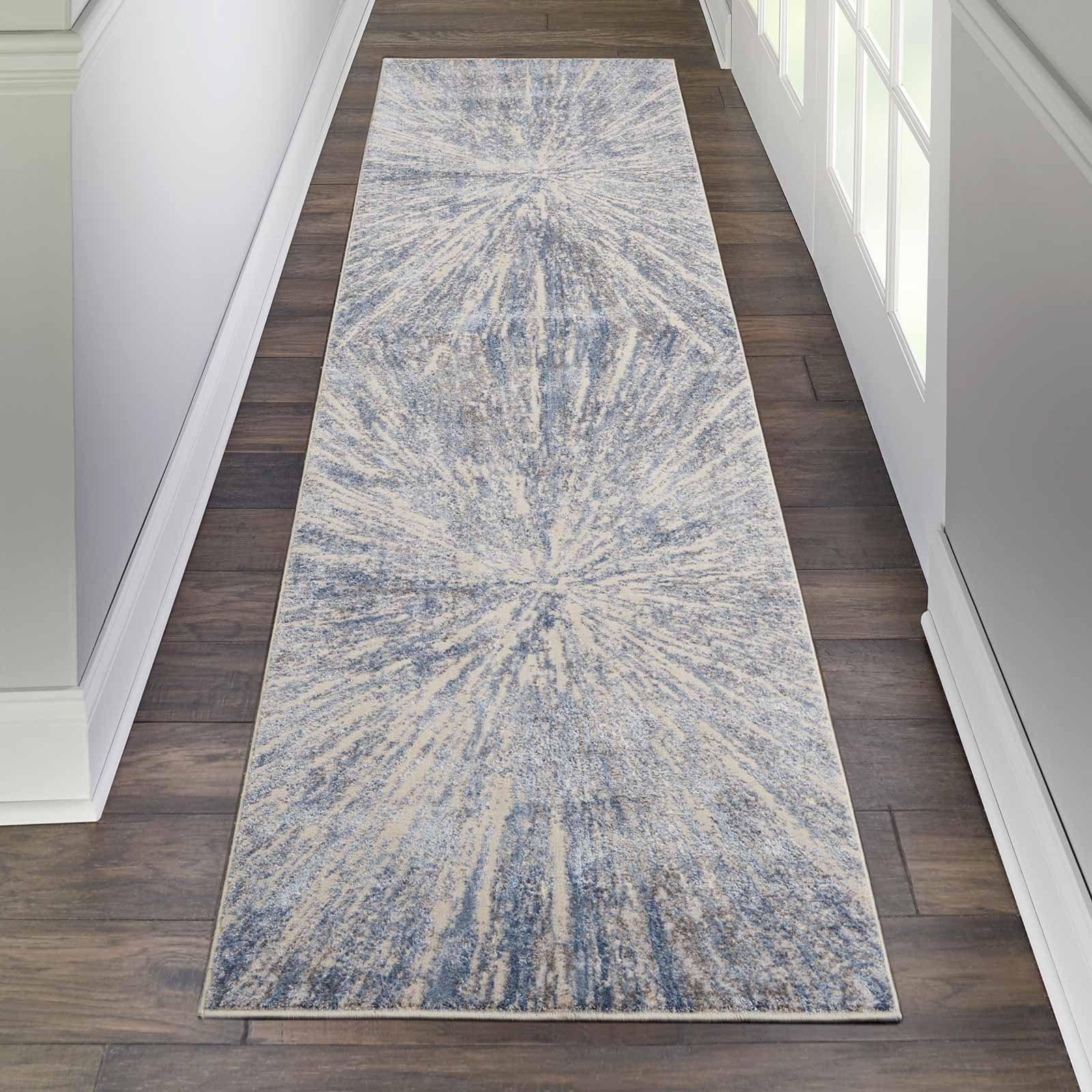 Nourison rug Silky Textures SLY05 BLUE GREY 2x8 099446710208 interior 1
