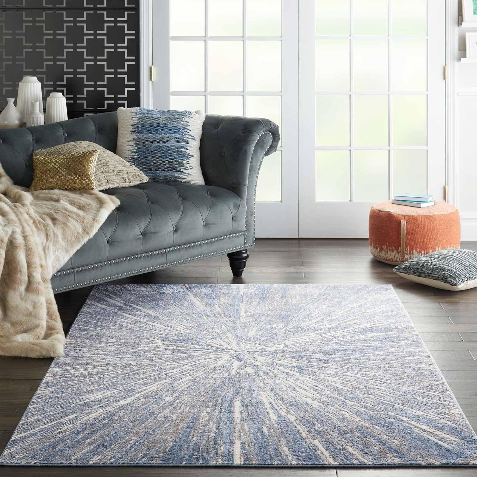 Nourison rug Silky Textures SLY05 BLUE GREY 5x7 099446710222 interior 1 C