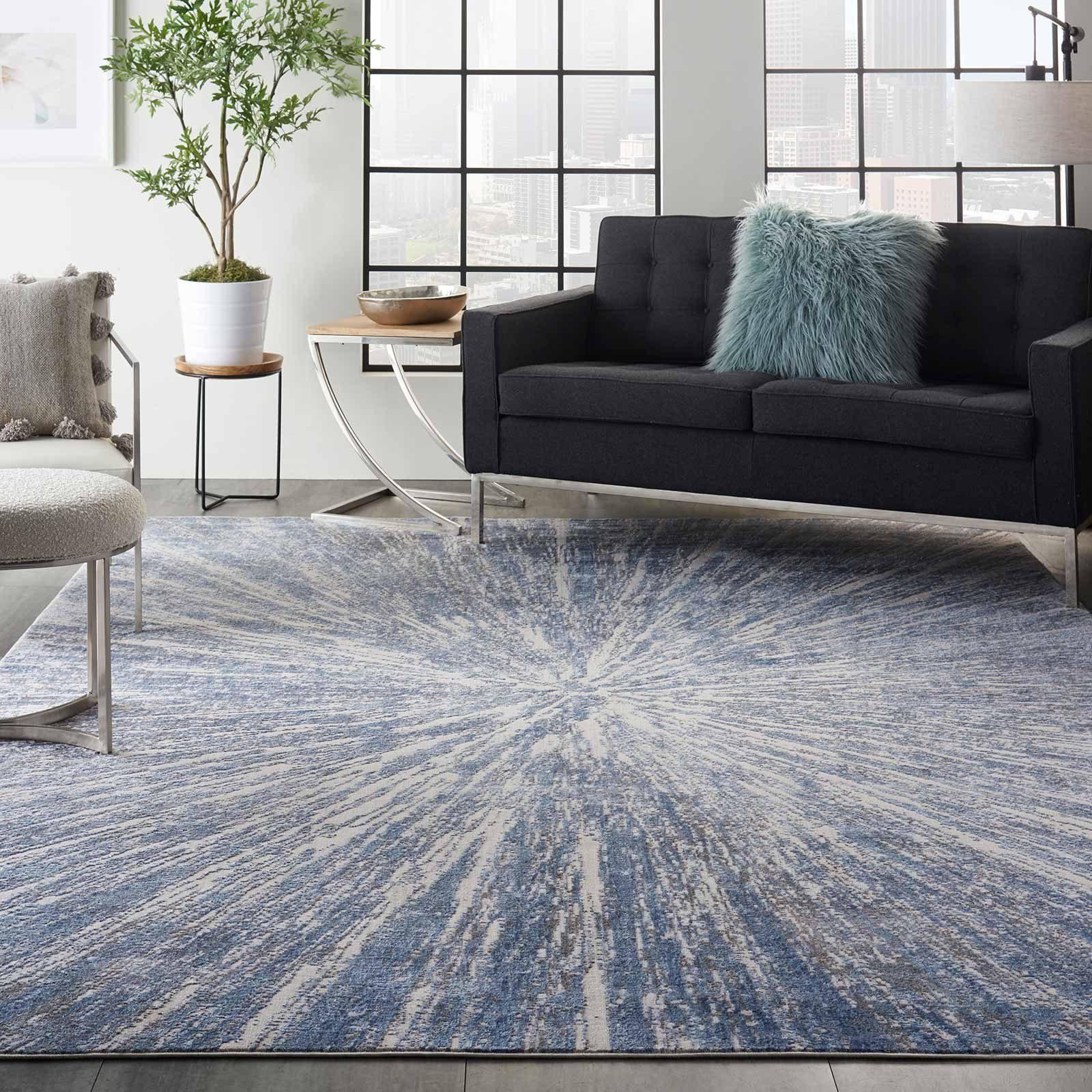 Nourison rug Silky Textures SLY05 BLUE GREY 8x11 099446710260 interior 1