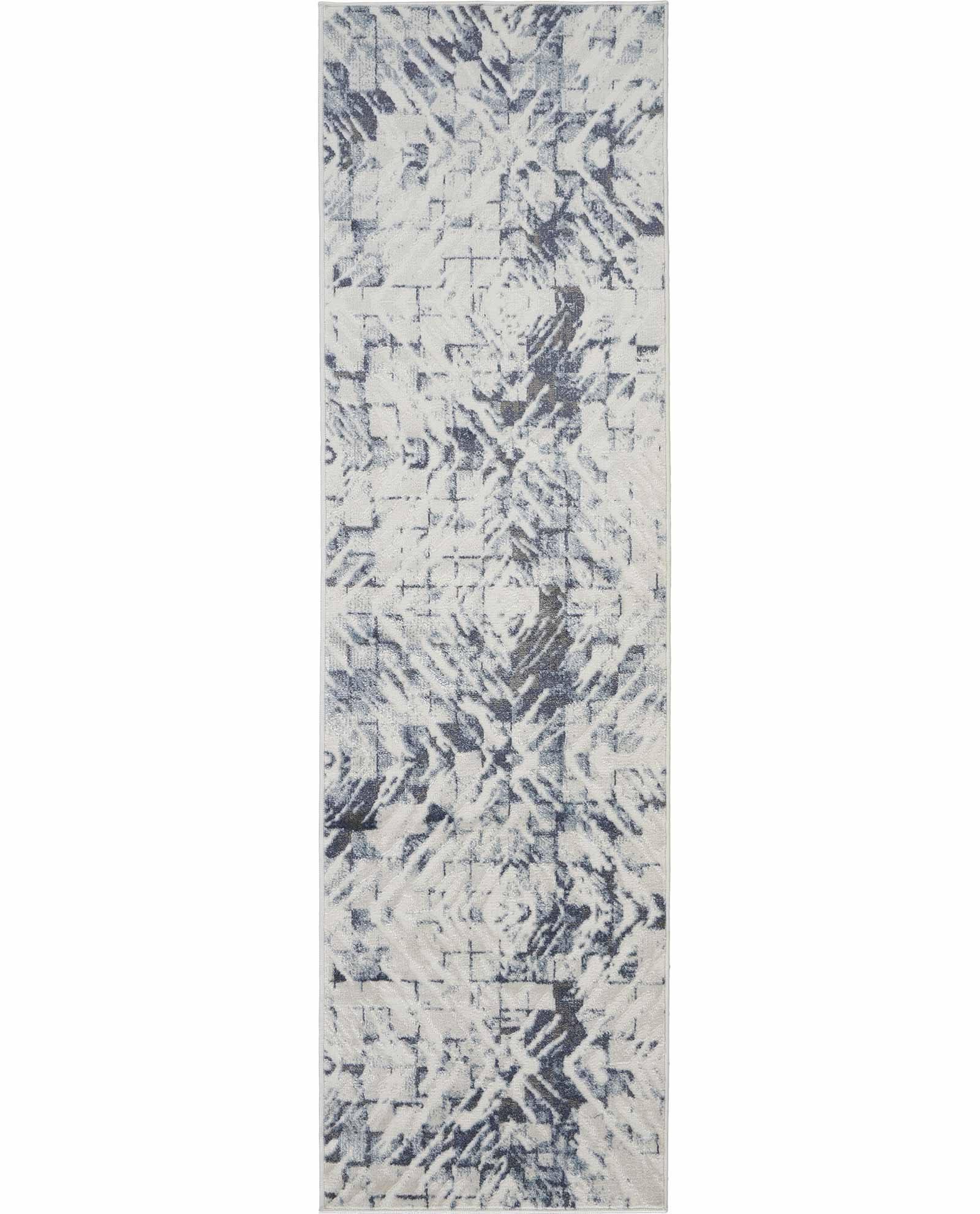 Nourison rug Urban Decor URD02 IVORY BLUE 2X8 099446466945 flat C